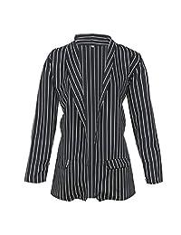 Womens Coat Winter Warm Ladies Long Sleeve Striped Stylish Blazer Jacket Coat