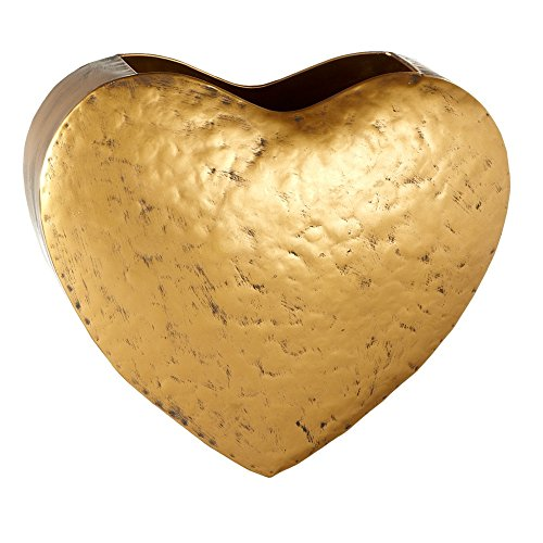 Gold Heart Patina Hanging Wall Pocket Mail Storage Basket ()