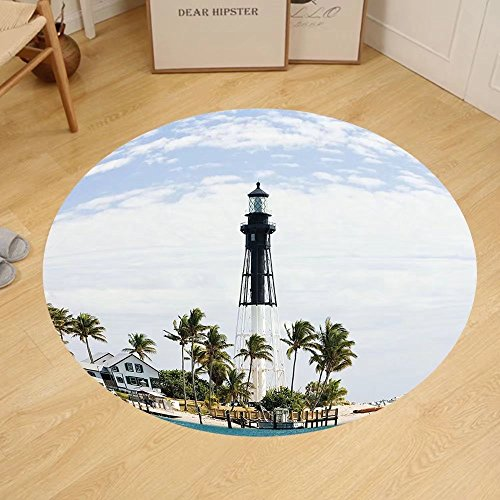 Gzhihine Custom round floor mat United States Hillsboro Lighthouse Pompano Beach Florida Atlantic Ocean Palms Coast Bedroom Living Room Dorm Blue White - Hillsboro Outlets