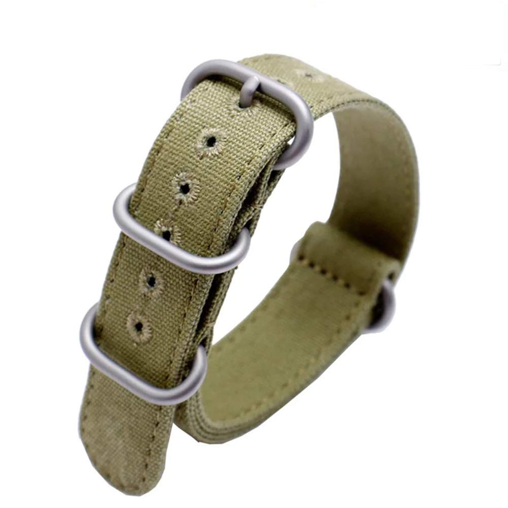 22mm Rugged Army Green Stitched Canvas Watch Strap for Men and Women NATO Straps Cotton Canvas Watch Bands