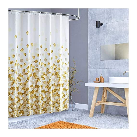 ARICHOMY Shower Curtain for Bathroom Fall Fabric Curtains Set Waterproof Colorful Flower Golden Gold Color with Standard… - The shower curtain is golden color, Large digital printed design is with vibrant colors, clear image, no fading. It is gorgeous and brightens up your bathroom tremendously. The curtain is is made of high quality durable microfiber fabric, 100% polyester waterproof, Non vinyl, Non PEVA, Environmentally friendly, dries quickly. The shower curtain for bathroom size of 72 x 72 inch will fit standard size shower / tub areas, No liner needed. - shower-curtains, bathroom-linens, bathroom - 51YN9ufl79L. SS570  -