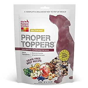 Honest Kitchen The Proper Toppers: Natural Human Grade Dehydrated Dog Superfoods, Grain Free Beef, 14 oz