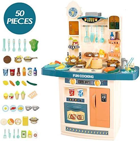 deAO Mein Glücklicher Kleiner Koch Küche Rollenspielset mit Multifunktionspanel, Licht, Ton, echten Wasserfunktionen und 50 Zubehörteile enthalten (blau)