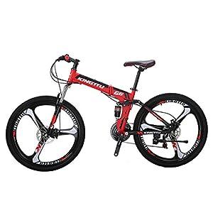 Kingttu G6 Mountain Bike 26 Inches 3 Spoke Wheels Dual Suspension Folding Bike 21 Speed MTB Red
