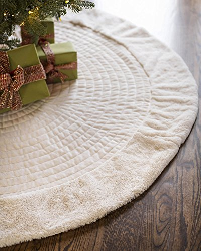 Balsam Hill Berkshire Channel Stitch Tree Skirt, 84 inches, Ivory White