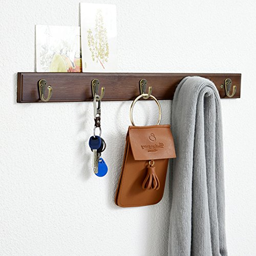 HOVEOX 20 Pcs Bronze Single Hooks Coat Wall Mounted Single Hooks Hangers No Scratch Robe Hooks Equipped with 40 Pcs Screws & a Free Screwdriver for Bath Kitchen Garage Heavy Duty, Vintage