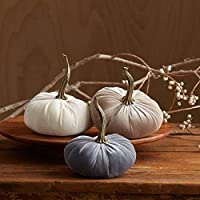 Velvet Pumpkins Set of 3 Includes Ivory Gray Taupe, Handmade Home Decor, Holiday Mantle Decor, Fall Halloween Thanksgiving Centerpiece, Wedding Centerpiece Decor