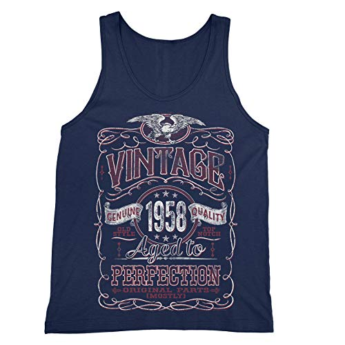 11b5e1c644e Shirt Invaders 60th Birthday Gift Mens Tank Top - Vintage 1958 Aged to  Perfection - Navy