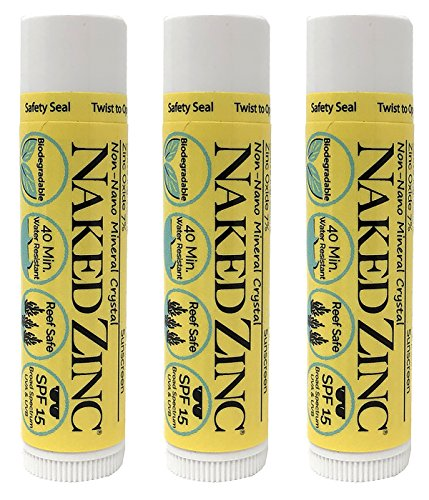 The Naked Bee Non-Nano Zinc Lip Balm Sunscreen SPF 15 (0.15 Ounce) Pack of 3 - Reef Safe, Paraben-Free, No Mineral Oil, No Chemical Absorbers