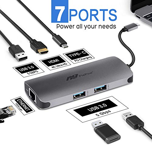 USB C Hub Multiport Adapter - 6 in 1 Dongle PD Charging Port, 4K HDMI Output,Ethernet, 3 USB 3.0 Ports Compatible for MacBook Pro, XPS More Type C Devices, 2 Year Warranty