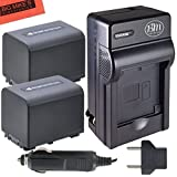 NPFV70 Battery & Charger Kit for Sony DCR-SX63 DCR-SX65 DCR-SX83 DCR-SX85 Handycam Camcorder - Includes Qty 2 NP-FV70 Batteries + AC/DC Battery Charger + More!!