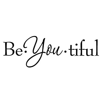VWAQ Be You Tiful Wall Decal Inspirational Quotes Wall Art Beauty Girls  Room Decor Saying (8\