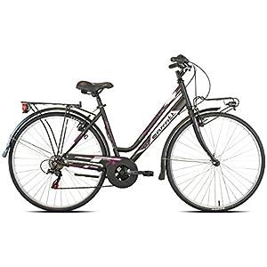 Carratt 481 TRK TZ50, City Bike Donna, Nero/Fuxia, 48