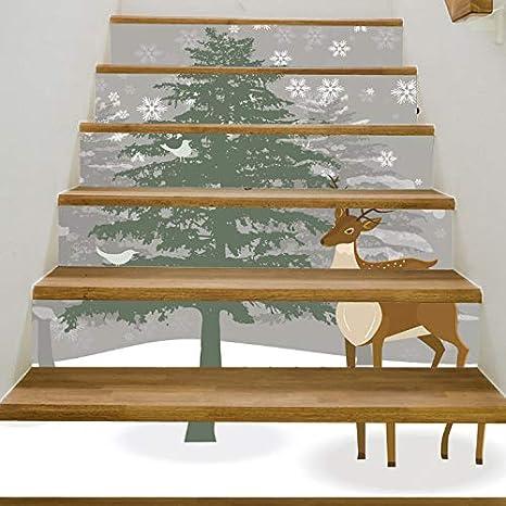 Fandhyy Navidad 3D DIY Pegatinas De Escalera A Prueba De Agua Árbol De Ciervo Pegatinas De Pared Decoraciones para El Hogar Sala De Estar 6 Unids/Set 18X100 Cm: Amazon.es: Hogar