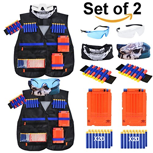 Exsport 2 Sets Tactical Vest Kits For Nerf Gun   2 Pack N Strike Elite Tactical Vest Jacket With 2 Wrist Bands  2 Quick Reload Clips  2 Protective Glasses 40 Bullets And 2 Face Tube Mask For Kids Fun