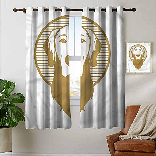 petpany Window Blackout Curtains Golden Retriever,Vintage Icon,for Room Darkening Panels for Living Room, Bedroom 52