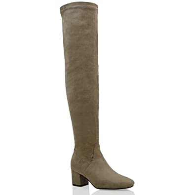 13b88580eefe ESSEX GLAM Womens Over The Knee Low Heel Taupe Faux Suede Stretch Thigh  High Boots 5