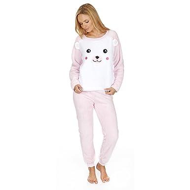 Womens Cat /& Bunny Snuggle Fleece Pyjamas Fluffy Twosie Pyjama Set Size 8-22 LN657