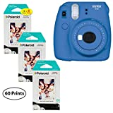 Fujifilm Instax Mini 9 Instant Camera (Cobalt Blue), 3x Twin Pack Instant Film (60 Sheets) Bundle