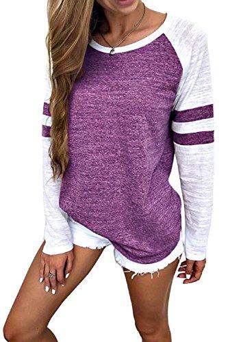 Casual Long Sleeve T Shirt Crew Neck Colour Block Tee Purple (Beach Crewneck Sweatshirt)