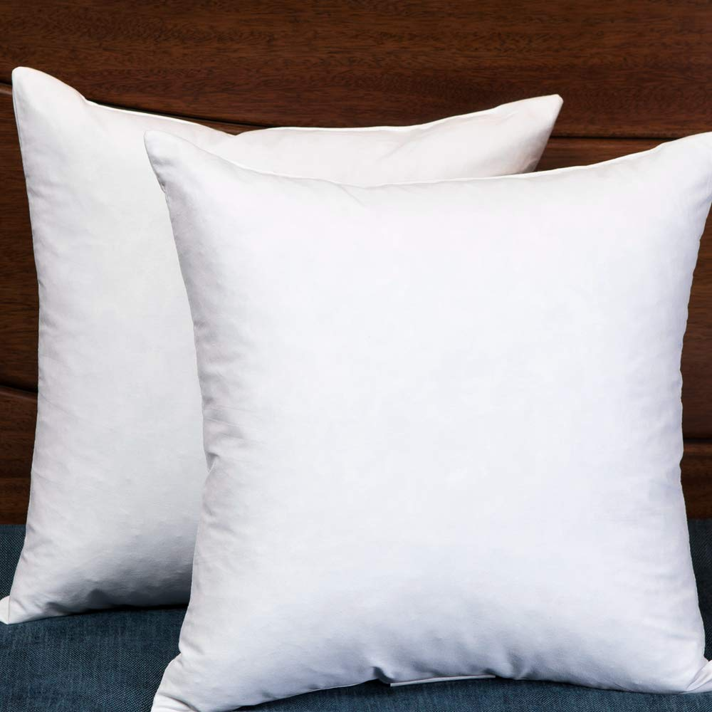 Set of 2, Square Decorative Throw Pillows Inserts Down and Feather Pillow Insert, Cotton Fabric, 26X26 Inches by StarryBedding