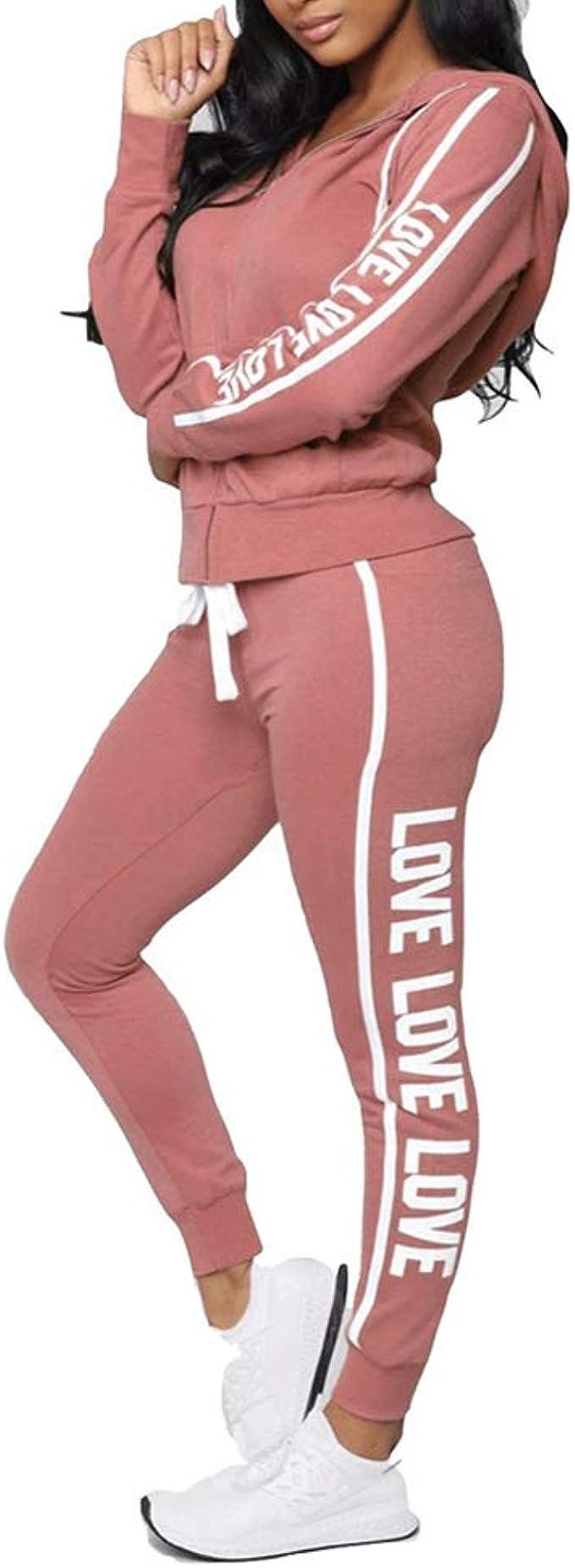 Godoboo Tuta da Ginnastica da Donna Tuta da Casa Tute Sportivo Senza Maniche da Donna Tuta da Jogging Pantaloni Sportivi con Coulisse e Tasche Set da 2 Pezzi Sport Yoga Outfit