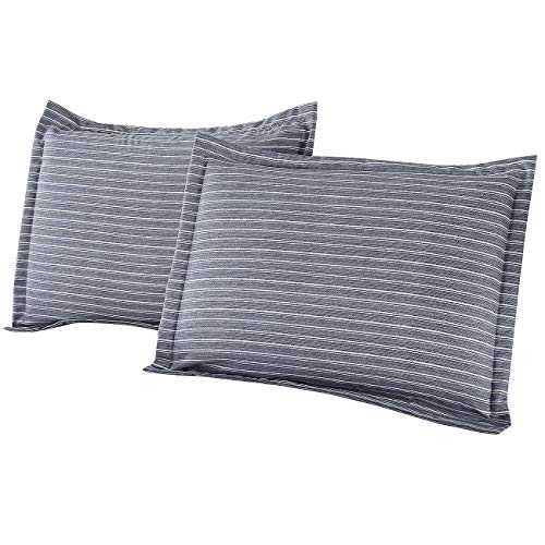 Treely Pillow Shams Standard, Set of 2, Stripe Cotton Stitch Sham(20
