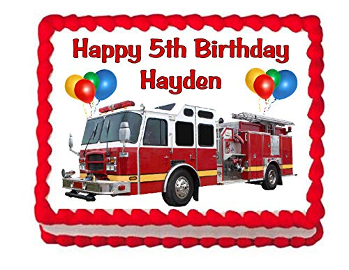 Cakes for Cures Fire Truck Firetruck Edible Cake Image Party Decoration Frosting Topper -