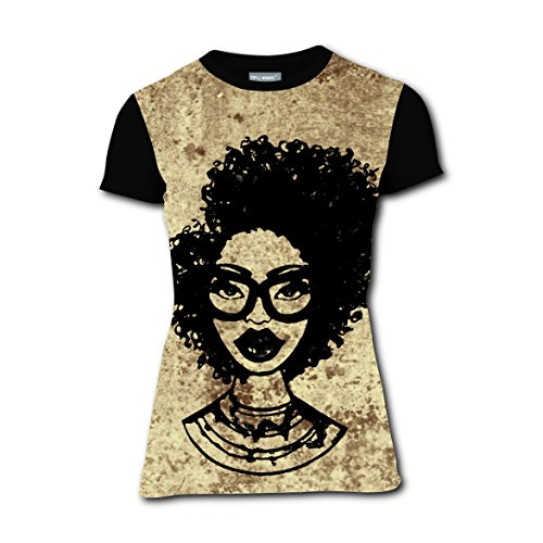 Afro Wild-curl up Big Hair T-shirts Tee Shirt for Women Tops Round Black M (Pregnant Couple Halloween Costume Ideas)