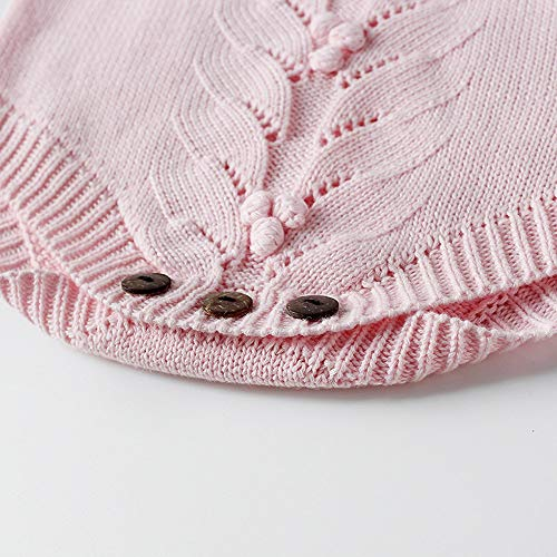 NUWFOR Newborn Baby Girls Boys Knitted Toddler Puff Sleeves Jumpsuit Clothes Outfits(Pink,12-18Months) by NUWFOR (Image #4)