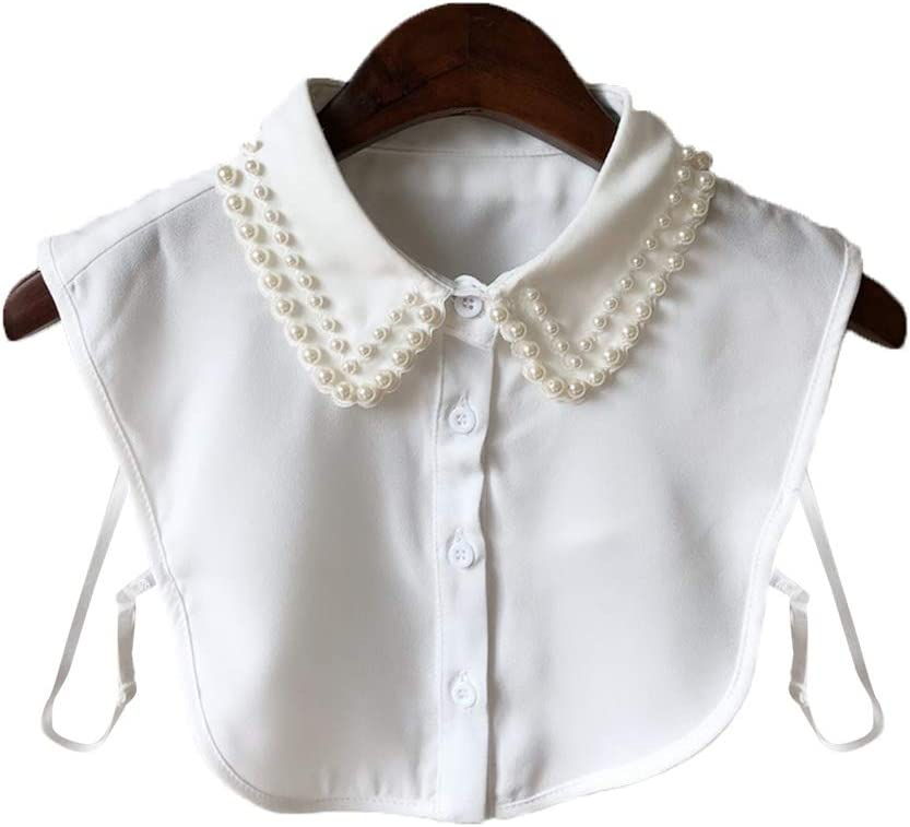 FATTERYU Mujeres Perla Camisa de Cuello de Gasa Cuello Falso Corbata Vintage Desmontable Collar Falso Cuello Solapa Blusa Top Mujer Ropa Accesorios Blanco