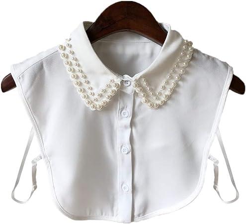 VAILANG Mujeres Perla Camisa con Cuello de Gasa Cuello Falso Corbata Cuello Desmontable Vintage Cuello Falso Solapa Blusa Top Ropa de Mujer Accesorios Cuello Falso Blanco: Amazon.es: Hogar