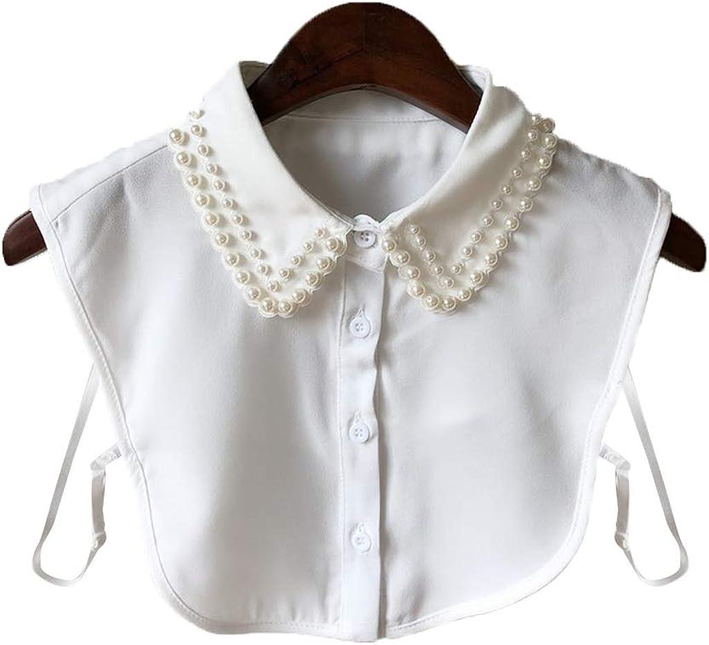 Tandou Elegante Krageneinsatz Damen Perlen Fake Kragen Blusenkragen Einsatz Bekleidung Accessoires