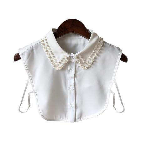 VAILANG Mujeres Perla Camisa con Cuello de Gasa Cuello Falso ...