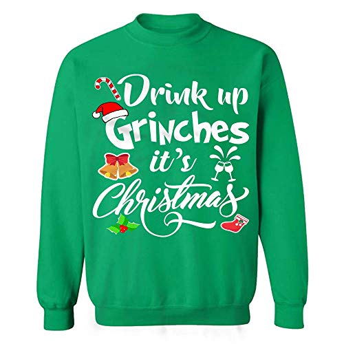 My Frog Store Drink Up Grinches It's Christmas Funny Drunk Wine Beer Sweatshirts -