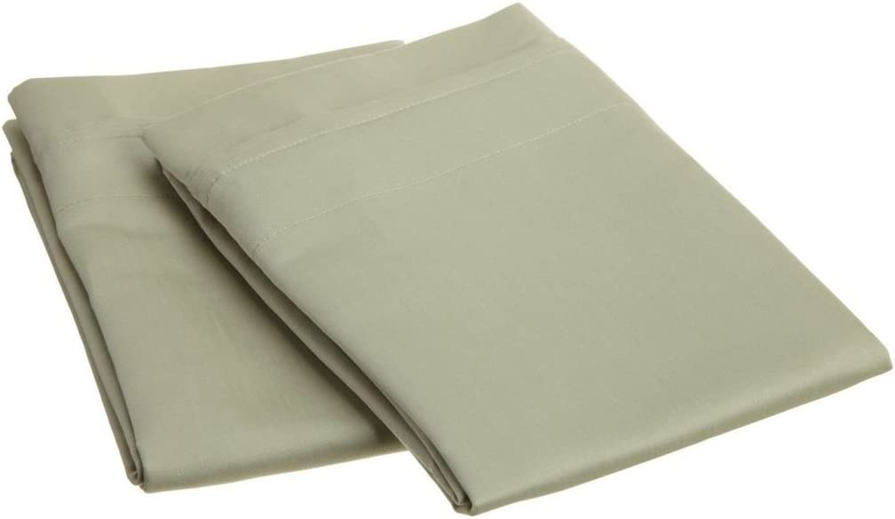 SUPERIOR 1000 Thread Count 100% Egyptian Cotton, Single Ply, Standard 2-Piece Pillowcase Set, Solid, Sage