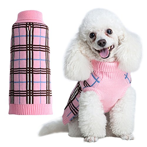 Dog Sweater Plaid Doggie Clothes for Girls Pink Medium by KOOLTAIL