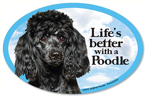 "Poodle (black) Oval Dog Magnet for Cars (and fridges too!). Includes bonus ""I Love My Dog"" (Poodle Black Magnet)"