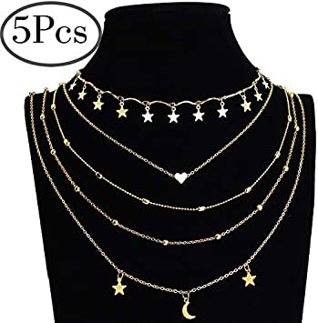 Silver Color Bead Clavicle Chain Pendant Necklace Choker Moon Multilayer