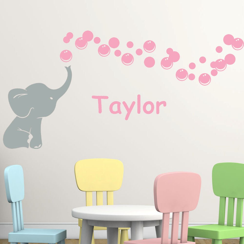 Personalized Elephant Bubbles Name Two Color Vinyl Nursery Room Wall Decal