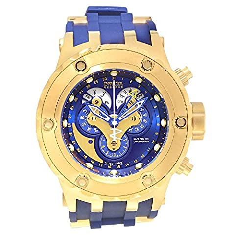 Invicta Excursion Reserve Chronograph Blue Dial Blue Polyurethane Gold Ion-plated Accents Mens Watch (Invicta Reserve Excursion Gold)
