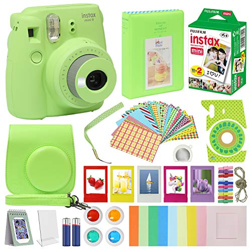 Instax Mini 9 Camera Lime Green Accessory kit for Instax Mini 9 Camera Includes Instant Camera Instax Film 20 Pack Instax Case with Strap Instax Album + Frames Lenses + More …