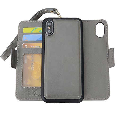 SHANSHUI Wallet Case Compatible with iPhone X/ 10/ Xs, TPU+PC Inner Wallet Detachable Magnetic RFID Blocking Flip Folio Cover Case with Cash Pocket 3 Credit Card Slots Holder Wrist Rope -5.8 inch Gray -  SHUI-iPhoneX-GY