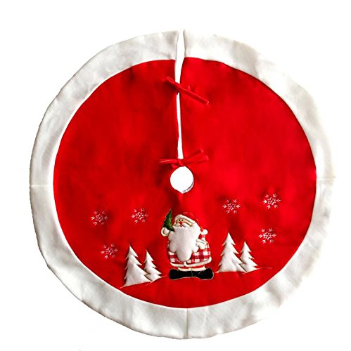 4 Xueliee 48 Christmas Tree Skirt Holiday Faux Fur Christmas Tree Skirt Ornaments Plush Tree Skirt for Christmas Decorations