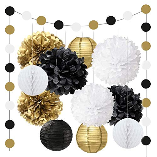 2019 Happy New Year Party Decorations Gift Set - Hanging Paper Pom Pom, New Years Eve Party Decorations Kit, Honeycomb for Wedding Baby Shower Bridal Event Office Mental Table Decor ()