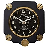 Pendulux Altimeter Decorative Wall Clock, Vintage Unique Wall Clock for Outdoor and Home Decor, Black - 7.5'' diameter