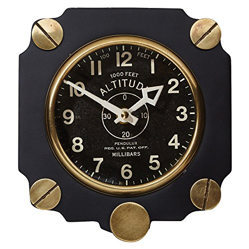 Pendulux, Wall Clock - Altimeter (Black) - Round Patterned Dial