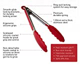 StarPack Premium Silicone Kitchen Tongs 2 Pack (9-Inch & 12-Inch), Bonus 101 Cooking Tips (Cherry Red)