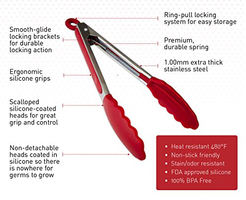 StarPack Premium Silicone Kitchen Tongs 2 Pack (9-Inch & 12-Inch), Bonus 101 Cooking Tips (Cherry Red) by StarPack Home (Image #1)