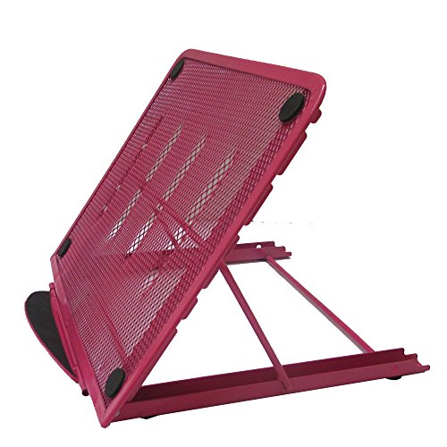 Portable Mesh Laptop/Tablet Stand, Folding/Adjustable Ventilated Table, Desk, Tray For Computer, Notebook, Ipad - Pink. By Mega Stationers